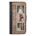 Stylish Rustic Wood Look Instagram Photo Collage Iphone 6/6s Plus Wallet Case at Zazzle