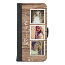 Stylish Rustic Wood Look Instagram Photo Collage iPhone 8/7 Plus Wallet Case