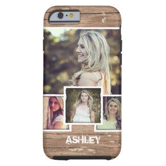 Stylish Rustic Wood Woodgrain Custom Photo Collage Tough iPhone 6 Case