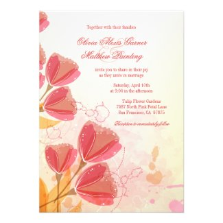 Stylish salmon pink tulips wedding invitation