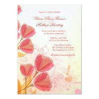 Stylish salmon pink tulips wedding invitation