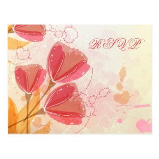 Stylish salmon pink tulips wedding RSVP flat card Postcard