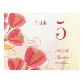Stylish salmon pink tulips wedding table number postcard