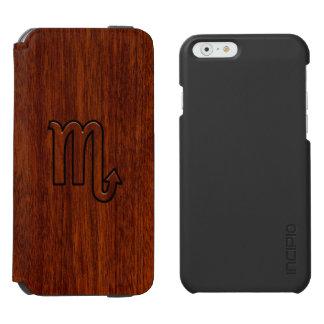 Stylish Scorpio Zodiac Symbol in Mahogany iPhone 6/6s Wallet Case