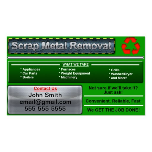 Recycling business card business card templates bizcardstudio stylish scrap metal removal business card reheart Choice Image