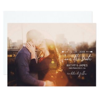 Stylish Script & Arrows Full Photo Save the Date Card