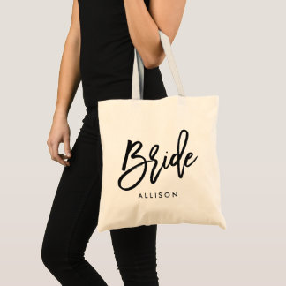 "Stylish Script ""Bride"" Personalized Tote Bag"