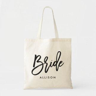 """Stylish Script """"Bride"""" Personalized Tote Bag"""