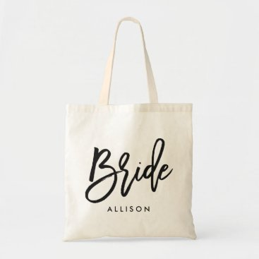 "heartlocked Stylish Script ""Bride"" Personalized Tote Bag"