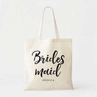 "Stylish Script ""Bridesmaid"" Personalized Tote Bag"