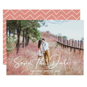 Wedding Themed Stylish Script Chevron Rustic Save The Date Card