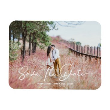 Wedding Themed Stylish Script Country Rustic Save The Date Magnet