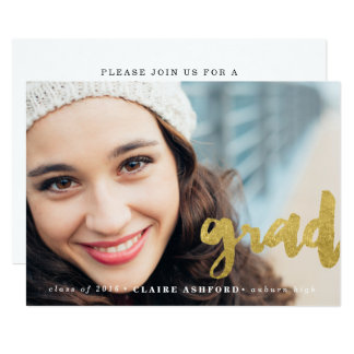 Stylish Script Gold Graduation Photo Invitation