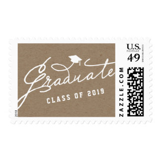 Stylish Script Graduate Hat Kraft Paper Graduation Postage Stamp