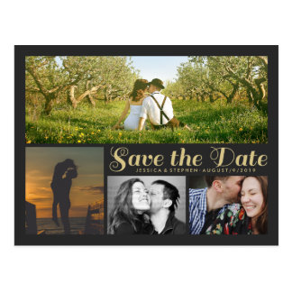 Stylish Script Grey Save The Date Collage Postcard