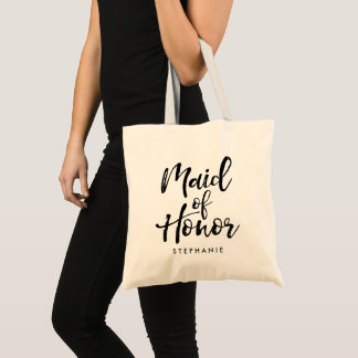 """Stylish Script """"Maid of Honor"""" Personalized Tote Bag"""