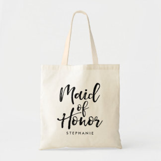 "Stylish Script ""Maid of Honor"" Personalized Tote Bag"