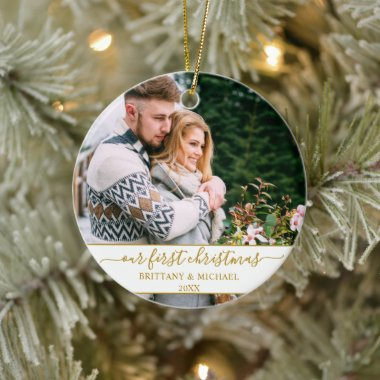 Stylish Script Our First Christmas Gold Couple Ceramic Ornament