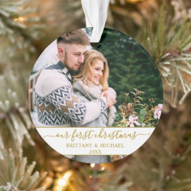 Stylish Script Our First Christmas Gold Couple Ornament