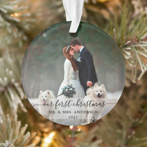 Stylish Script Our First Christmas Wedding Photo Ornament