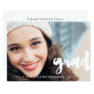 Stylish Script Overlay Graduation Photo Invitation