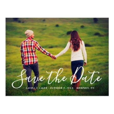 Wedding Themed Stylish Script Photo Overlay Save the Date Postcard