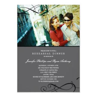 Stylish Scrolls Rehearsal Dinner or Wedding Shower 5x7 Paper Invitation Card
