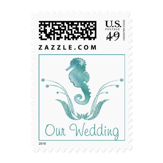 Stylish Sea Horse Wedding Stamp