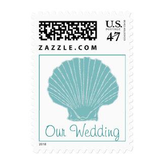 Stylish Sea Shell Wedding Stamp
