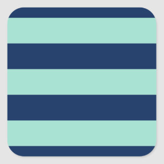 Stylish Seafoam Green and Navy Stripes Square Sticker