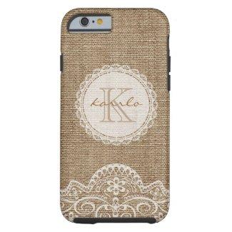 Stylish Shabby Rustic Burlap Ivory Lace Monogram Tough iPhone 6 Case