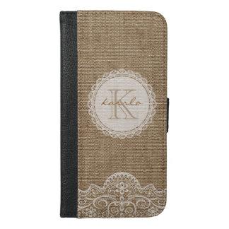 Stylish Shabby Rustic Burlap Ivory Lace Monogram iPhone 6/6s Plus Wallet Case