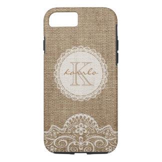Stylish Shabby Rustic Burlap Ivory Lace Monogram iPhone 7 Case
