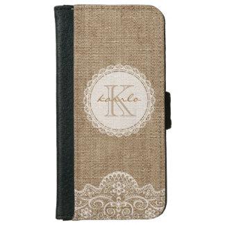 Stylish Shabby Rustic Burlap Ivory Lace Monogram iPhone 6 Wallet Case