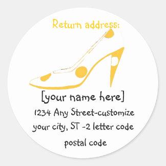 Stylish Shoe Lover address labels Classic Round Sticker