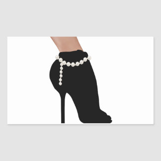 stylish silhouette beautiful woman shoes high heel rectangular sticker