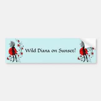 Stylish silhouette of elegant woman with sweet cat bumper sticker