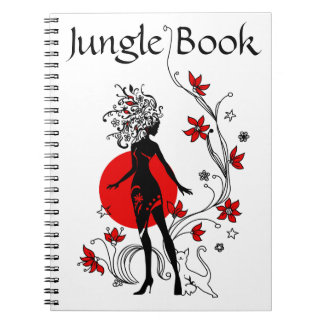 Stylish silhouette of elegant woman with sweet cat notebook