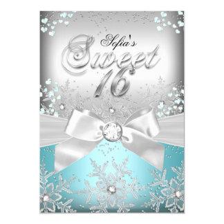 Stylish Silver Bow Blue Jewel Sweet Sixteen Invite