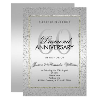 Stylish Silver Confetti 60th Diamond Wedding Invitation