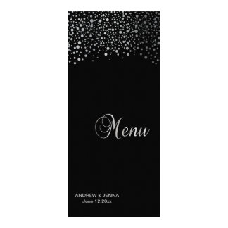 Stylish Silver Confetti Dots | Black Background Rack Card