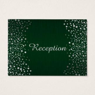 Stylish Silver Confetti Dots | Dark Green Business Card