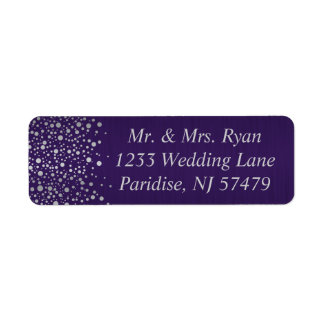 Stylish Silver Confetti Dots | Dark Purple Label