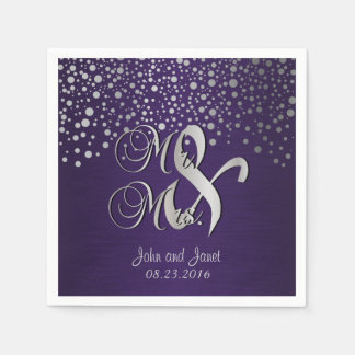 Stylish Silver Confetti Dots | Deep Dark Purple Paper Napkin