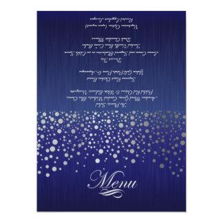 Stylish Silver Confetti Dots Sapphire Blue Card
