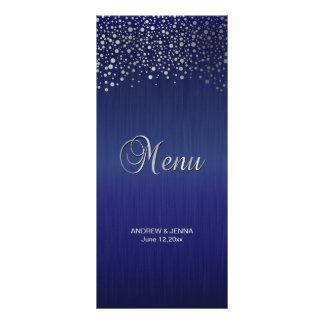 Stylish Silver Confetti Dots | Sapphire Blue Rack Card