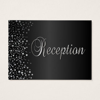 Stylish Silver Confetti Dots | Sheen Black Business Card