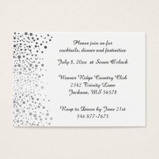 Stylish Silver Confetti Dots | White Background Business Card
