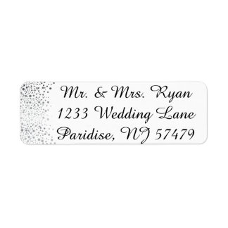 Stylish Silver Confetti Dots | White Background Label