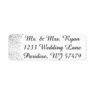 Stylish Silver Confetti Dots | White Background Label